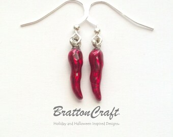 Red Chili Pepper Earrings - Hand Painted Red Chili Pepper Earrings - Chili Pepper Earrings - Red Pepper Earrings