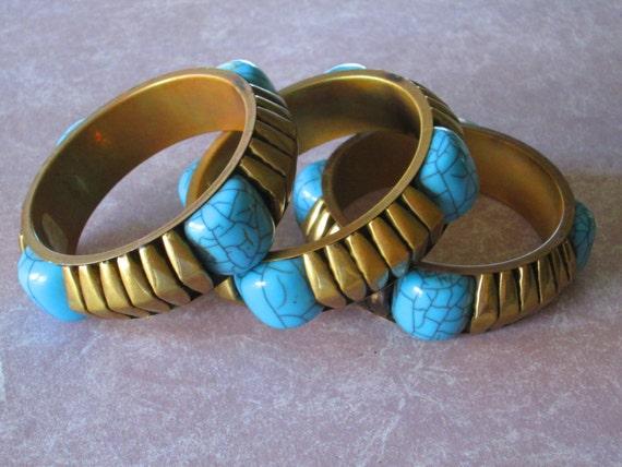 Tribal Brass Turquoise Stone Bracelets Free Trade Bangles - native bracelet, Boho bracelet, Bohemian Gypsy Style