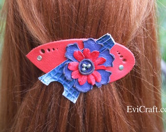 Eiffel tower hair barrette, flower hair clip, Large red Leather french hair barrette, bordo Ponytail Holder, blue leather accessory