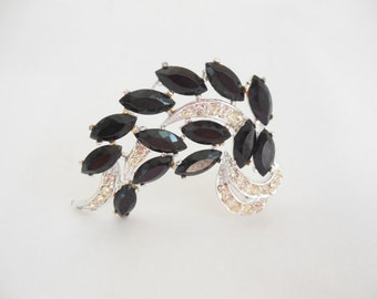 Sarah Coventry Vienna Brooch Black and Clear Rhinestones