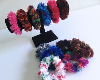 Crochet Hair Scrunchies - Fur Boa Hair Elastic - Ponytail Holder - Ready to Ship