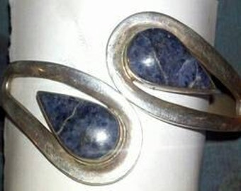 Mexican clamper bracelet sodalite sterling TN32