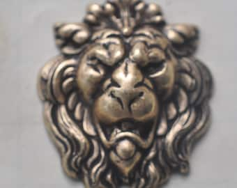 Lion Head Brass Stamping, Brass Ox, Craft and Jewelry supplies, Jewelry Making, Brass Stampings, Findings Made in the USA