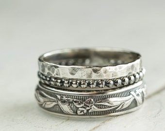 Rustic Stacking Rings in Sterling Silver, sterling wedding ring, Stacking Ring Set