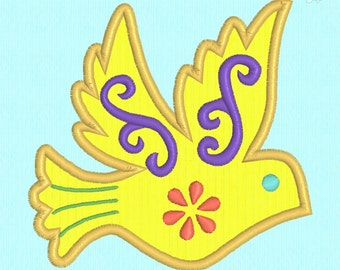 Bird applique machine embroidery design file