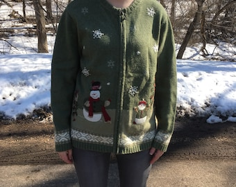 Ugly Christmas Sweater Vintage 80's Authentic Tacky Ugly Christmas Sweater Party Women's Large Croft Snowman Christmas Tree Green Bedazzled
