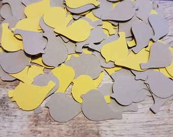 120x Bright Yellow and Grey Bird /Dove table confetti  decoration.Romantic spring and summer Wedding , anniversary, traditional,natural eco