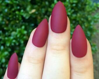 Matte nails, maroon nails, fake nails, stiletto nails