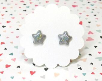Holographic Star Earrings, Cute Earrings, Holo Earrings, Star Stud Earrings, Titanium Earrings, Kawaii Stars, Plastic Posts, Sensitive Ears