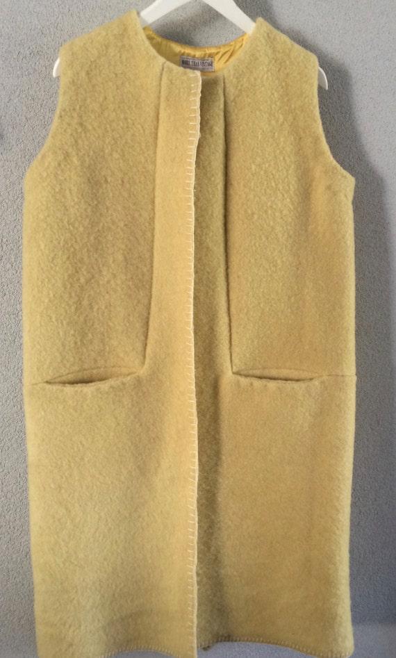 Handmade blanketcoat cardigan long waistcoat, made of a yellow vintage blanket,  size M L