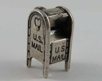 U.S. Mail Drop Off Post Box With Opening Mail Slot Mechanical Sterling Silver Vintage Charm For Bracelet
