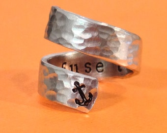 I Refuse to Sink, Hammered Anchor Ring - Inspirational Gift - Hand Stamped - Gift Under 20