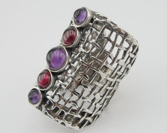 Handcrafted 925 Sterling Silver Garnet,Amethyst,Ring,Red, Purple , Fine Garnet Ring, Ring size 9 (and can be resize (1142b)