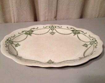 Large Vintage Food Platter with Forest Green Pattern