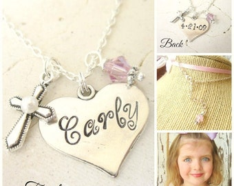 Children's Personalized Necklace.Girl's Heart Stamped Name & Date Pearl Cross Necklace.Baptism Gift.First  Communion Gift.Confirmation Gift