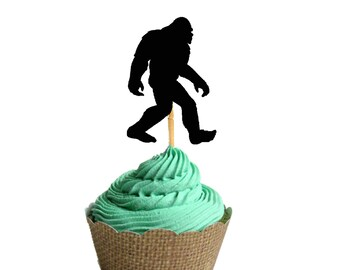 Bigfoot Party Food Picks, bigfoot Party,  Bigfoot Cupcake Toppers - Set of 12, Kit , Party Decoration - sasquatch - party decor -food picks
