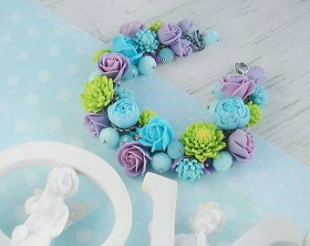 Beautiful floral bracelet in fresh spring colours
