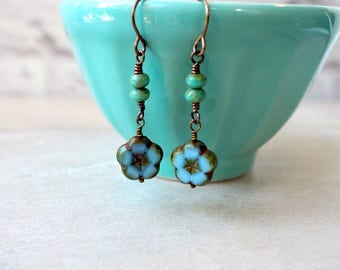 Blue Flower Earrings / Czech Glass Beads / Brass Earrings / Blue and Turquoise / Boho Chic Earrings / Casual Jewelry / Gift for Her