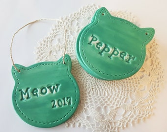Cat Ornament with Name | Round Cat Head | Personalized Ornament | Custom Clay Ornament | Made to Order | Personalized for Cat