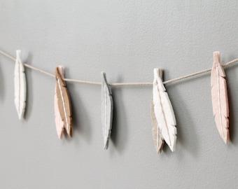 Felt Feather Garland. Tribal Nursery Decor. Peach Banner. Modern Nursery Decor for Baby Girl. Wall Hanging. by Ordinary Mommy Design
