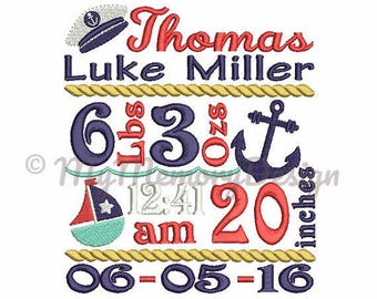 Personalize Sailboat themed Birth Announcement Burp Cloths set of two