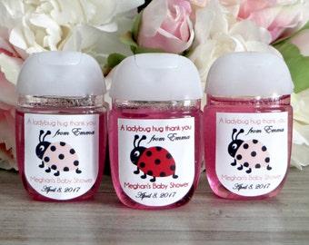 Ladybug baby shower favor label, Lady bug birthday party favor labels, hand sanitizer labels, hand sanitizer favor label