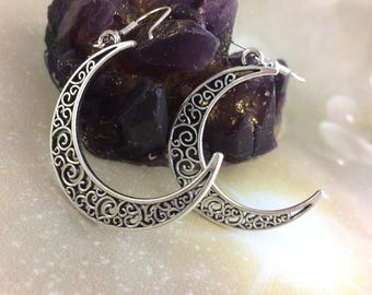 Boho Earrings For Women - Burning Man - Sexy Women Best Selling Item - Sterling Silver Crescent Moon Goddess Jewelry - Best Friend Gift