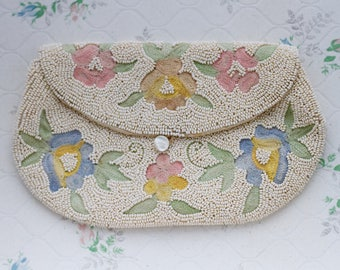 Antique Clutch Handbag - Beaded Purse and Emboidery