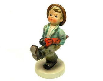 Hummel Figurine Stormy Weather Boy with Umbrrlla Happy Traveler #109/0 West Germany
