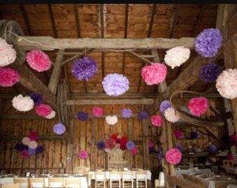 Custom Set of 15 tissue paper pompoms first birthday wedding ceremony reception decorations arch arbor aisle marker baby bridal shower