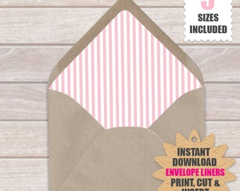 Pink And White Stripe ENVELOPE LINERS  | European Style Printable Envelope Liners a9, a7, a6, a2 And 4 Bar Template