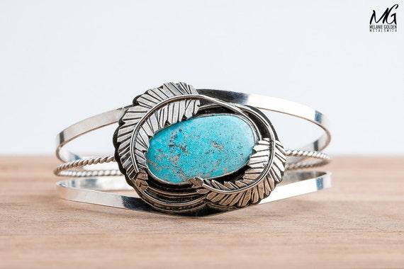 Blue Ridge Lightning Turquoise Cuff Bracelet with Feathers in Sterling Silver - Aqua Blue Bohemian Cuff - Boho Navajo Indian Bracelet