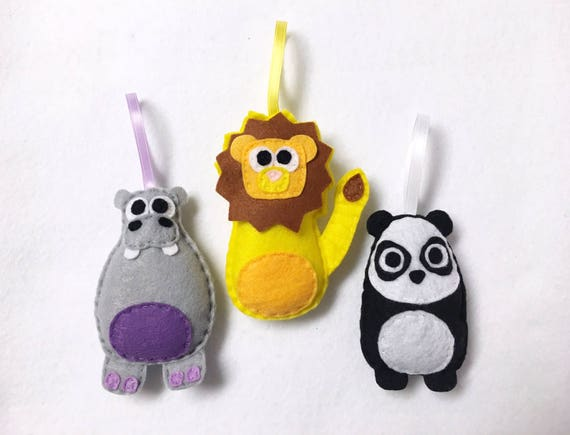 Zoo Animals Ornaments, Hippo, Lion, Panda - Set of Three Ornaments, Birthday Favors, Nursery Decoration, Christmas Ornament