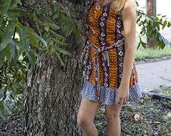 Tribal Print Tunic Shift Dress Abstract Mini made with Vintage Fabrics