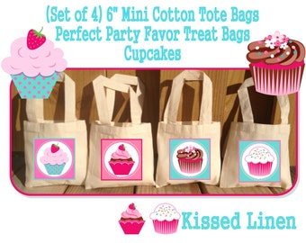 Cupcake Birthday Party Treat Favor Gift Bags Totes Children Kids Girls Boys Birthday Party Baby Shower Set of 4