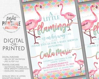 Flamingo Baby Shower Invitation, Flamingo Baby Sprinkle Invitation, Flamingo Baby Shower Invite, Summer Lets Flamingle, Pink Gold, Girl #687