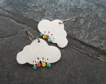 Rain Cloud Earrings, Colorful Cloud Jewelry, Gift For Teen Girl, Spring Earrings, Raindrop Jewelry, Rainy Day Earrings