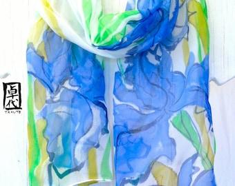 Silk Scarf Handpainted, Blue Irises Scarf, Blue Silk Scarf, Silk Chiffon Scarf, Fall Scarf, Silk Scarves Takuyo, 11x60 in. Made to order.