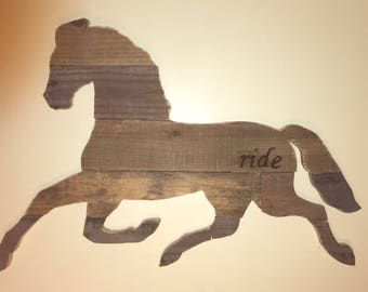 Reclaimed wood horse rustic 'ride' hand painted on hip rustic weather-vane inspired