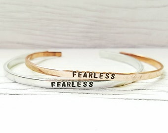Fearless Bracelet, Fearless Skinny Stacking Cuff, Hand Stamped Bracelet
