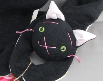Cat Kitty Animal Plush Scarf, Short or Extra Long Black Kitty for kids or adults, stuffed animal scarf plushy toddler neck warmer winter