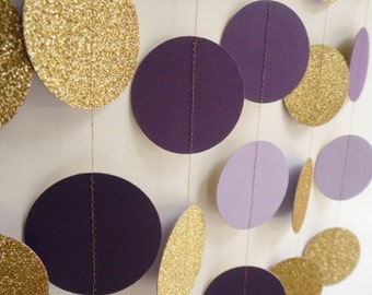 Gold Glitter, Purple and Lavender Circle Garland, Paper Dot Garland, Wedding Reception Decor, Bridal Shower Decoration