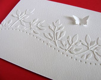 Creamy Ivory Floral Border Card with Single Matching Butterfly or Butterfly in YOUR Choice of Colour / Made to Order