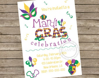 Mardi Gras /  Carnival / Celebration / Party / Birthday / Celebrate / Invitation / Invite