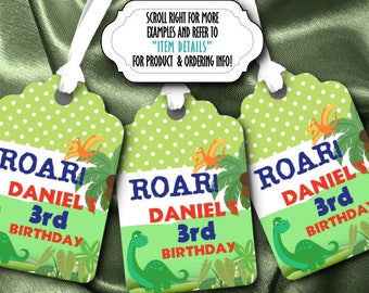 Set of 12 Favor Tags, Gift Tag, Thank You Tags, Dinosaur, Prehistoric, T Rex, Stone Age, Birthday Party