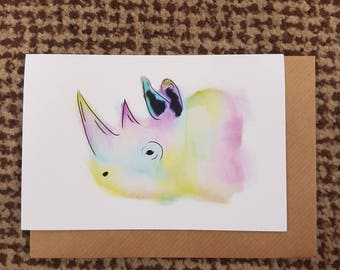 WALTER, Watercolour Rhino A6 Recycled Greeting Card, Hand Painted with Brown Envelope