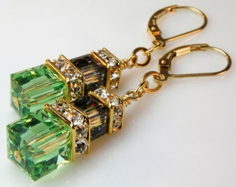Peridot Green and Black Crystal Earrings Gold Filled, Long Dangle Stacked Cubes, Wedding Jewelry, Bridesmaid, Bridal Party, Handmade Jewelry