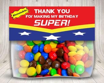 Wonder Woman Treat Bag Topper, Wonder Woman Party, Superhero Birthday, Personalized