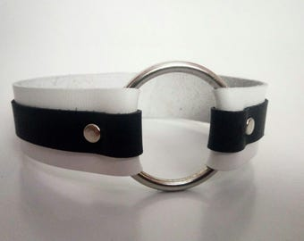 Black and White Leather Collar One in Stock