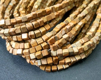 Natural Brown Wood Line Jasper Cube beads,Beige Brown Stone cube beads 4x4x4mm- approx 90pcs/Strand